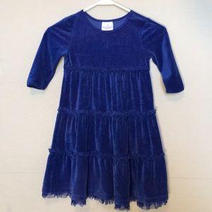 Hanna Anderson cobalt blue velour LS dress Sz 110